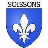 Soissons 02 ville Stickers blason autocollant adhésif Taille : 4 cm