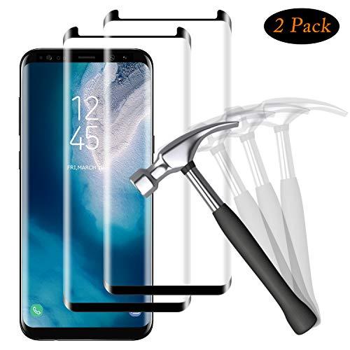 NUOCHENG Protector de Pantalla para Samsung Galaxy S8 Plus, 2 Pack Cristal Vidrio Templado de [3D Cobertura] [No Burbujas] [Alta Sensibilidad] Protector de Pantalla para Samsung Galaxy S8 Plus