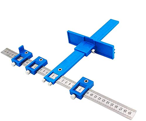 Power Tools Punch Locator, Drill Guide Sleeve Cabinet Hardware Jig/Template Wood Drilling Dowelling for Installation of Handles, Knobs on Doors and Drawer Pull-Blue Plastic