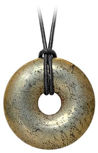 Kaltner Präsente Geschenkidee - Lederkette für Damen und Herren mit Donut Anhänger aus dem Edelstein Pyrit Katzengold (Ø 40 mm)