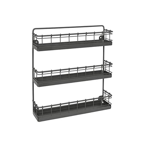 Spectrum Diversified Storage for Kitchen Pantry Cabinet Industrial Gray Spectrum Vintage WallMount 3Tier Spice Rack Large
