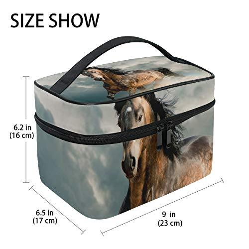 Reisetasche für Make-up, Tiere, Laufendes Pferd, Pony, Kosmetiktasche, Organizer für Frauen, Mädchen, Kulturbeutel, tragbare Aufbewahrung, Kosmetiktasche aus Segeltuch