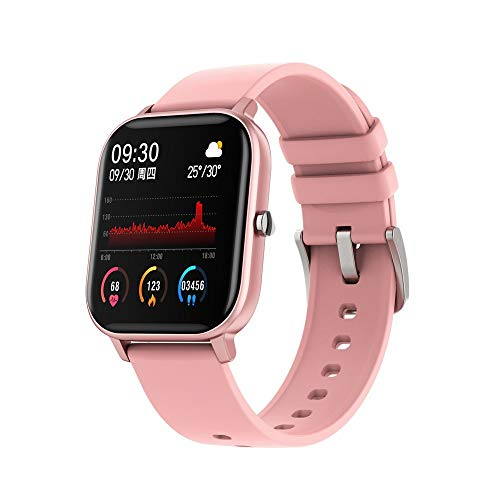 Smart Watch Watches for Men Women Fitness Tracker Blood Pressure Monitor Music Control IP68 Waterproof, Smartwatch Compatible with iPhone Samsung Android Phones (Pink)