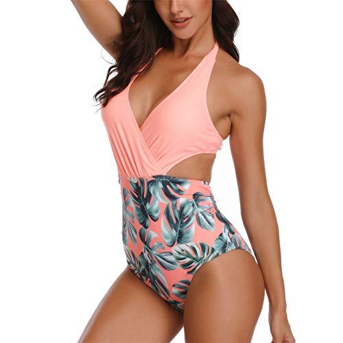 ZHUQI Costume da Bagno Intero da Donna Cerniera Costume da Bagno con Taglio Alto Sportivo Senza Schienale Senza Maniche Costumi da Bagno Interi Costume da Bagno Allacciatura Bikini F-Pink XL