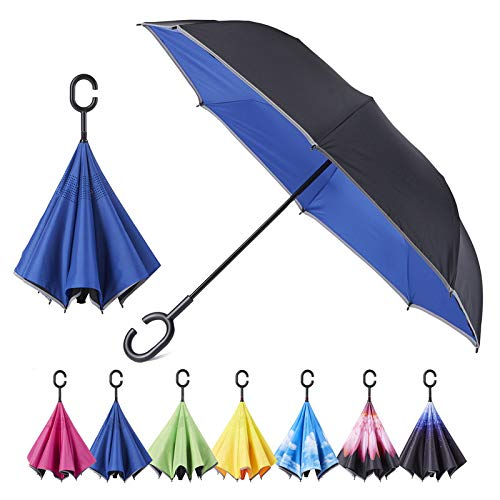 HOSA Manual Open Reverse Inverted Umbrella Night Safety Reflective Strips, UV Protection Double Layer Windproof Canopy Design C Handle (C-Shaped) Upside Down Straight Umbrella For Outdoor Car Rain Women