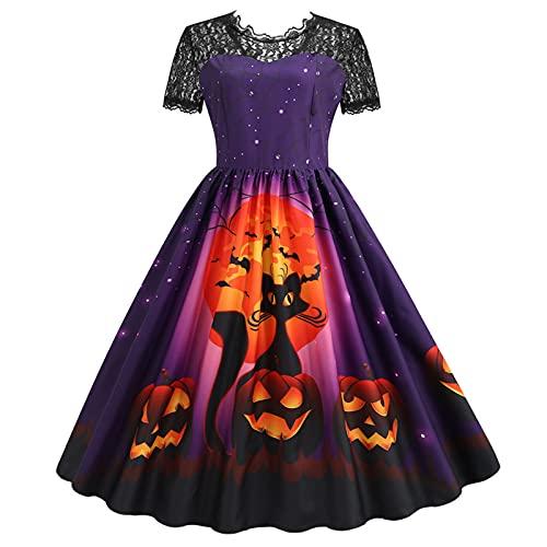 Women's Halloween Dress Cocktail Dress for Women Lace 1950s Party Dress Lace Short/Long Sleeve Boho Dress