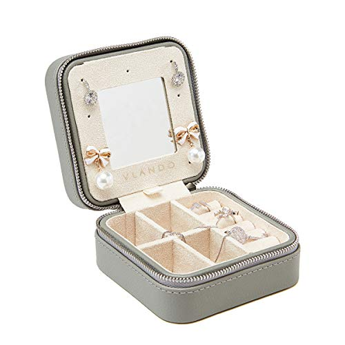 Vlando Travel Jewelry Box Organizer, Soft PU Leather Wooden Mini Mirrored Jewelry Storage Case with Zipper for Bracelets, Earrings, Rings, Necklaces -Best Gifts for Girls Women Ladies (Grey)