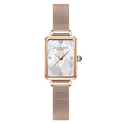 Damen Uhren, L'ananas Schale Rechteckzifferblatt Kristall Strass Leder/Meshbelt Uhren Women Wristwatches (Mesh-Roségold)