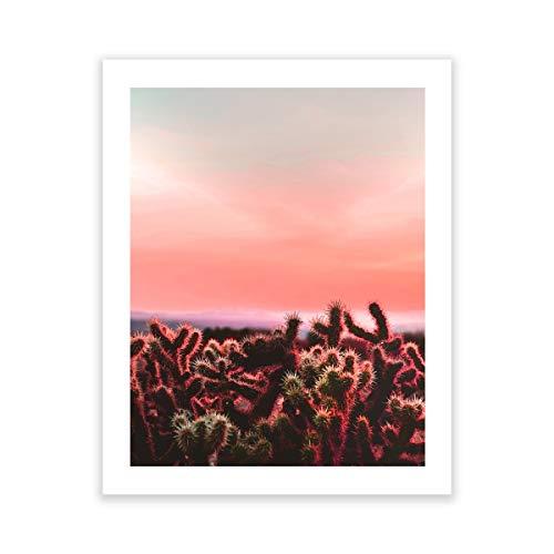 Humble Chic NY Pflanzen Sie Kunstbildplakat mit weißem Mattrahmen für Hauptdekorationen, Wohnzimmer, Esszimmer, Schlafzimmer, Badezimmer und Büro südwestlich 16 x 20 Unframed Cactus Sunset