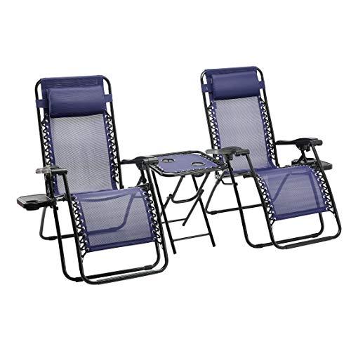 Amazon Basics - Set de 2 sillas con gravedad cero y mesa auxiliar, de color azul