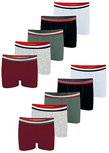 LOREZA ® 10er Set Jungen Boxershorts Baumwolle (128-134 (8-9 Jahre), M-2814 - 10er Set)