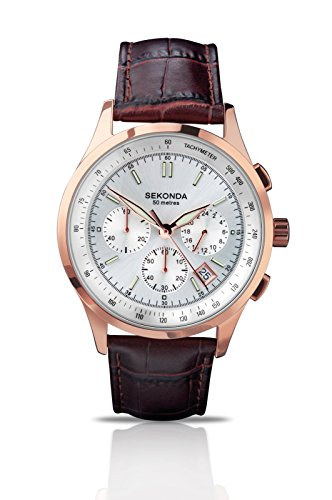 Sekonda Men's Quartz Watch with Silver Dial Analogue Display and Brown Leather Strap 3847