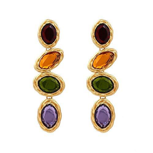 Glazen schilderij oorbellen voor vrouwen, lange hangers oorbellen, diamant oorstekers, dames geschenken, verjaardagscadeau