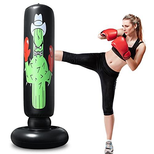 Standboxsack für Kinder,160cm Aufblasbare Boxsack für sofortiges Zurückspringen Schwerer Boxsack zum Üben von Karate, Taekwondo, Druckentlastung und Heimtraining für Jugendliche Erwachsene