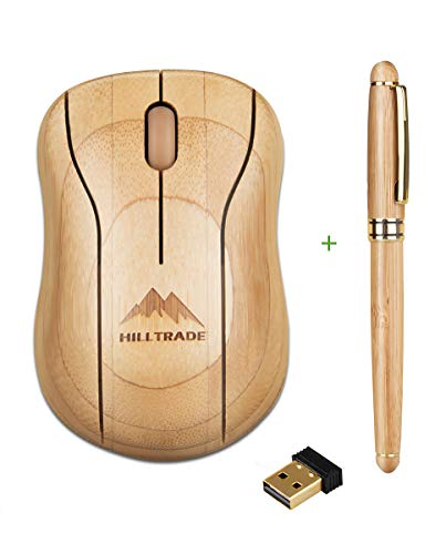Bamboo Wireless Mouse, Computer Optical Mouse, Ergonomic Quiet Mice, Laptop Mouse with USB Nano Receiver for Gaming, Office Work, Laptop, Desktop, Notebook, PC, MacBook by Hilltrade