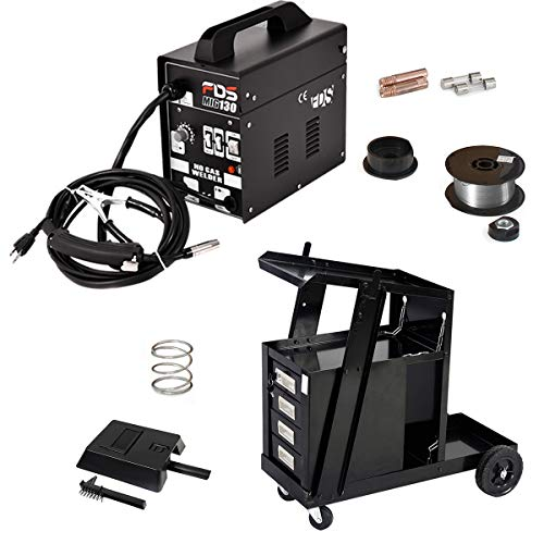 Goplus MIG 130 Welder Flux Core Wire Automatic Feed with Welder Cart, 100 Lb Capacity, Portable 4-Drawer Cabinet (Black)