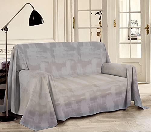 Biancheriastore Tela decorativa para sofá de piqué fabricada en Italia, diseño de arcoíris   Manta de algodón jacquard ligera de verano multicolor – matrimonial 260 x 280 cm – Beige