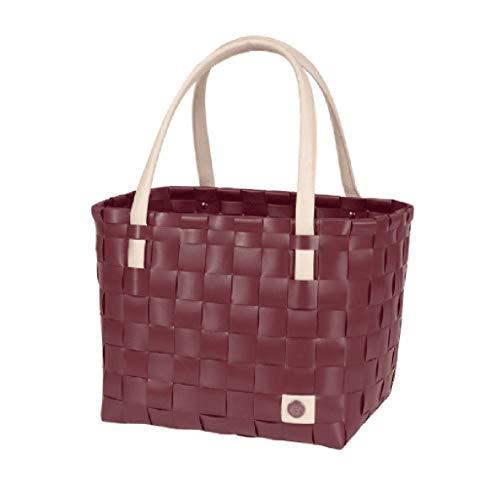 Handed By - Color Block - Shopper/Einkaufskorb/Einkaufstasche/Flechtkorb - Burgundy/weinrot - 27 cm x 31 cm x 24 cm