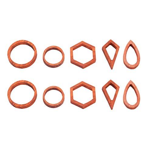Healifty 10 Stück Open Back Lünette Schmuck Machen Anhänger Holzrahmen Geometrische Formen für Harz Schmuck Ohrring Halskette DIY Handwerk