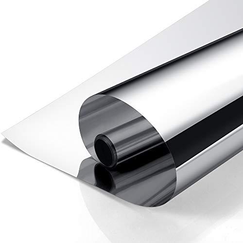 Rabbitgoo Vinilo Cristal Ventana Película de Espejo Unidireccional Lámina Electricidad Estatica Protector Solar Privacidad Deorativos Adhesiva Anti 85% Calor y 99% UV para Hogar Oficina 90x200CM