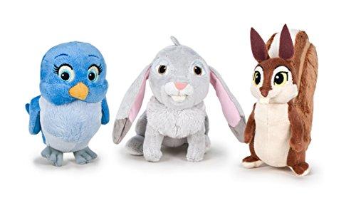 Disney - Pack 3 Peluches Amiguitos Princesa Sofía - Conejo, Ardilla y pajaro 14 cm , color/modelo surtido