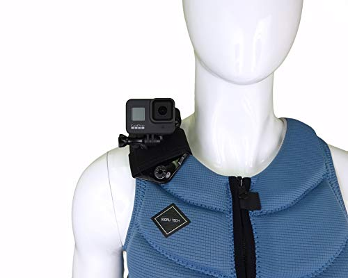 STUNTMAN Vest Mount - Soporte para chaleco para GoPro y otras cámaras de acción: para chalecos salvavidas no inflable, chalecos tácticos y otro equipo con correas anchas