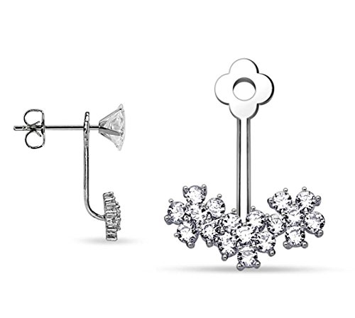BlingKing - 1 Ohrstecker Ear Jacket Blumen - Silber Ear Cuff/Schaukel-Ohrring/Pendel-Ohrring - Stecker + Anhänger