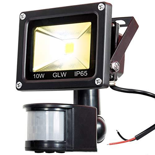 GLW 12V AC or DC LED Motion Sensor Flood Light,10W Mini IP65 Waterproof Outdoor Light,900LM,3000K,Warm White Security Light with PIR,80W Halogen Bulb Equivalent[NO Plug]