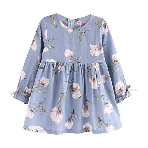 Moent Vestido y falda para niña, ropa de bebé de manga larga, diseño floral, para fiesta de princesa, regalos de Pascua para niños (azul, 5 años)