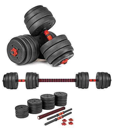 Xylo Sapphire 40kg Lang- Kurzhantel Hantel Set Gewichte Hantelscheiben Krafttraining 2 in1 Hantelset Kurzhantelstange Langhantelstange inkl. 16 Hantelscheiben Home Gym