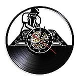 mazhant Tocadiscos de DJ Reloj de Pared de Hip Hop Club Nocturno Estudio de música Arte de Pared Disco de Vinilo Vintage Reloj de Pared Amante de la música Regalos de Novio DJ