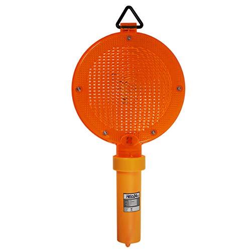 HELO 'V1' LED Baustellenleuchte ORANGE mit Handgriff und Haken zum Aufhängen, Blink-Frequenz: ca. 80 Blitze/Minute, Warnleuchte sichtbarer Abstand: > 500 Meter, 18 cm Linsen Durchmesser