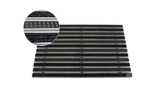 EMCO Eingangsmatte DIPLOMAT Rips anthrazit + Bürsten grau 22mm Fußmatte Schmutzfangmatte Fußabtreter Antirutschmatte, Größe:590 x 390 mm