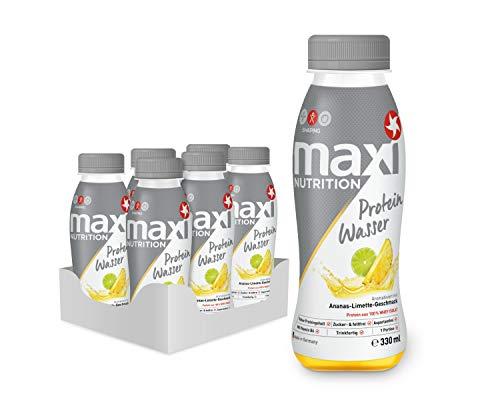 MaxiNutrition Protein-Wasser Ananas-Limette – Post Workout Fitness Drink für den Muskelaufbau – Mit 15 g Protein pro Portion – 6 x 330 ml Protein-Getränk in der Flasche