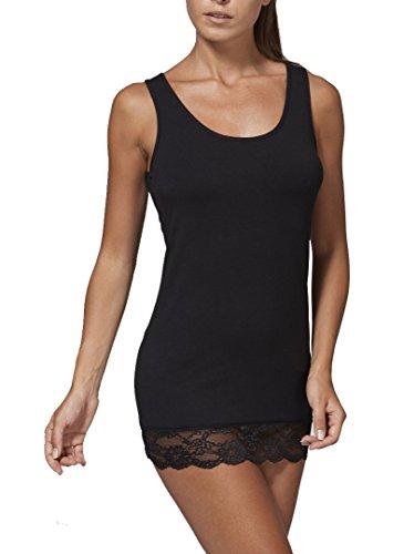 JADEA canotta top donna spalla larga con pizzo in cotone elasticizzato art. 4328 (nero, L)