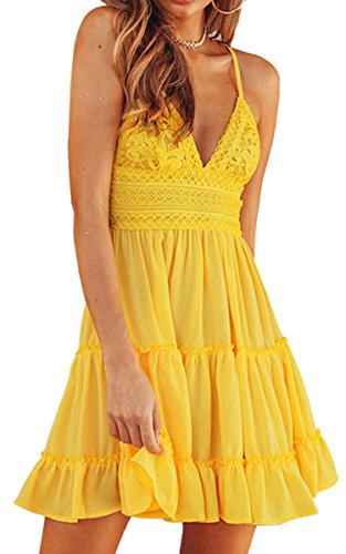 ECOWISH Womens V-Neck Spaghetti Strap Bowknot Backless Sleeveless Lace Mini Swing Skater Dress Yellow