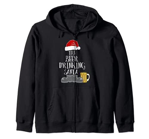 Disfraz de Papá Noel de Navidad con cerveza Sudadera con Capucha