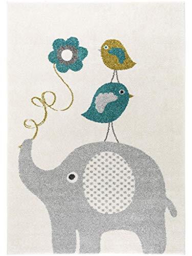 benuta Livone - Alfombra Infantil (160 x 230 cm), diseño de pájaros y Elefantes, Color Azul