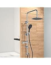 EISL Doucheset Douchezuil met regendouche 200 x 200 mm en handdouche, douchesysteem ideaal voor montage achteraf door gebruik van bestaande boorgaten, DXLD60088CS, chroom/zwart