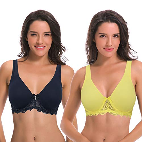 Curve Muse Women's Unlined Underwire Lace Bra with Padded Shoulder Straps-2PK-NAVY, Light YELLOW-34DDDD