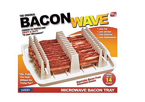 "Emson Bacon Wave, Microwave Bacon Cooker, New, 9.96"" x 8.03"" x 0.37"" (Length x Width x Height), White"