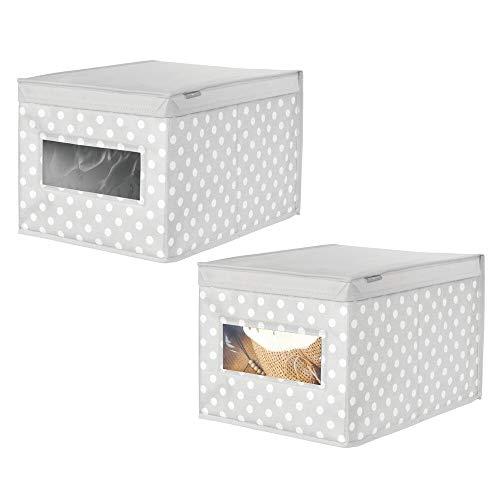 mDesign Juego de 2 cajas apilables medianas – Cajas con tapa para guardar ropa de bebé o mantas – Cajas para armarios con tapa y ventana transparente – gris claro/blanco
