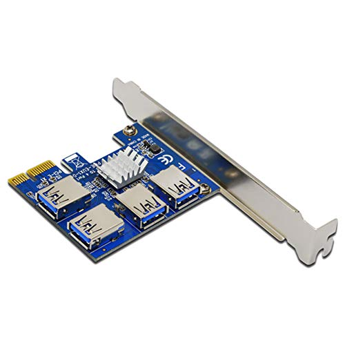 Sumerlly New PCI Expansion Card 1 to 4 PCI Slots USB 3.0 Converter Adatper PCIE Riser Cards for Bitcoin Mining Device