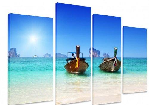 "Imagen–Multi Split Panel arte en lienzo Arte Barcos de playa, color claro agua mar océano azul cielo sol Tailandia Islas–Art Depot Outlet–4Panel–101cm x 71cm (40""x28"")"
