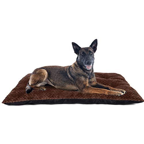 """GASUR Large Dog Bed Crate Pad Mat Ultra Soft 24""""/30""""/36""""/42"""" Washable Large Medium Small Pet Beds Cat Beds Mattress Kennel Pads (XL, Coffee Color)"""