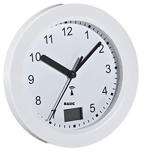basic clock Funk-Badezimmeruhr mit Temperaturanzeige Funkuhr mit 4 große Saugnäpfe zur Befestigung