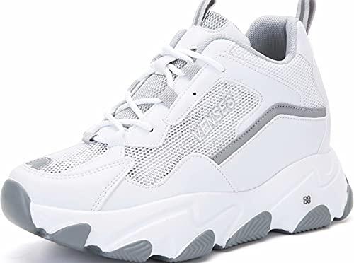 GILKUO Zapatillas Cuña Interior Mujer Verano Zapatillas Altas Deportivas Deporte Plataforma Sneakers Zapatos Cuña Talón 9cm Blanco 38