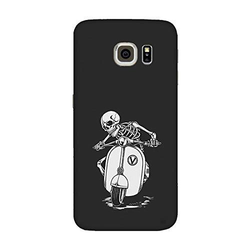Generico Cover Custodia Compatibile per Samsung Galaxy S7 Edge scheletri sulla Vespa motorino/Stampa Anche sui Lati/Phone Hard Snap on Anti-Slip AntiGraffio Resistente agli Ammortizzatore Rigido