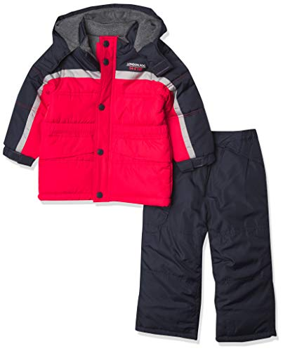 LONDON FOG Boys' Ski Jacket & Ski Pant 2-Piece Snowsuit, RED Black Stripe, 5/6
