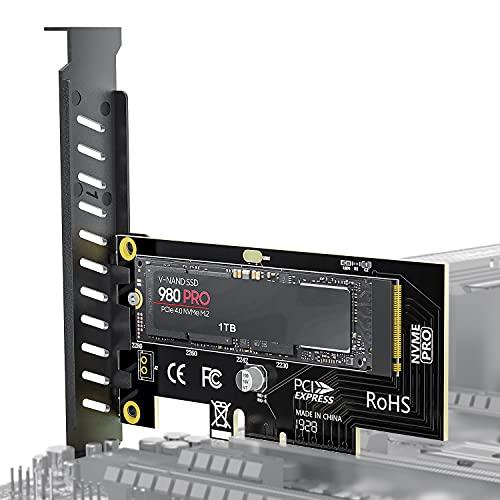 Tarjeta adaptadora AMPCOM M.2 NVME SSD a PCIe 4.0, 64Gbit / s SSD Adaptador PCIe4.0 X4 para PC de Escritorio, PCI-E GEN4 de Velocidad Completa